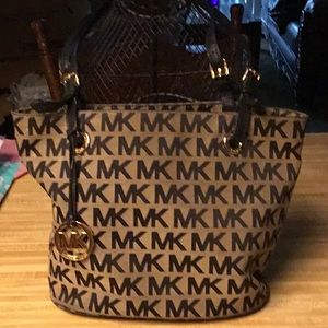 Michael Kors Canvas Bag with Leather Trim/Handles